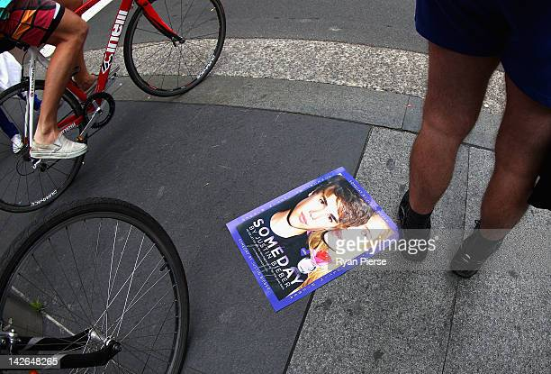 Justin Bieber poster is seen as One Direction fans gather outside the 'Sunrise' studios at Martin Place on April 11 2012 in Sydney Australia One...