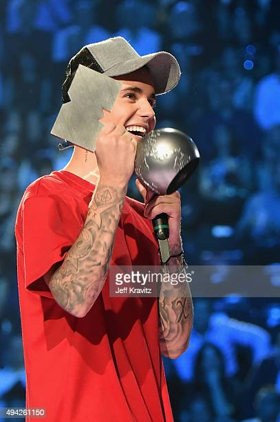 Justin Bieber receives the award for Best Look on stage during the MTV EMA's 2015 at the Mediolanum Forum on October 25 2015 in Milan Italy
