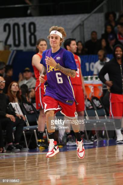 Justin Bieber runs up court during the NBA AllStar Celebrity Game presented by Ruffles as a part of 2018 NBA AllStar Weekend at the Los Angeles...