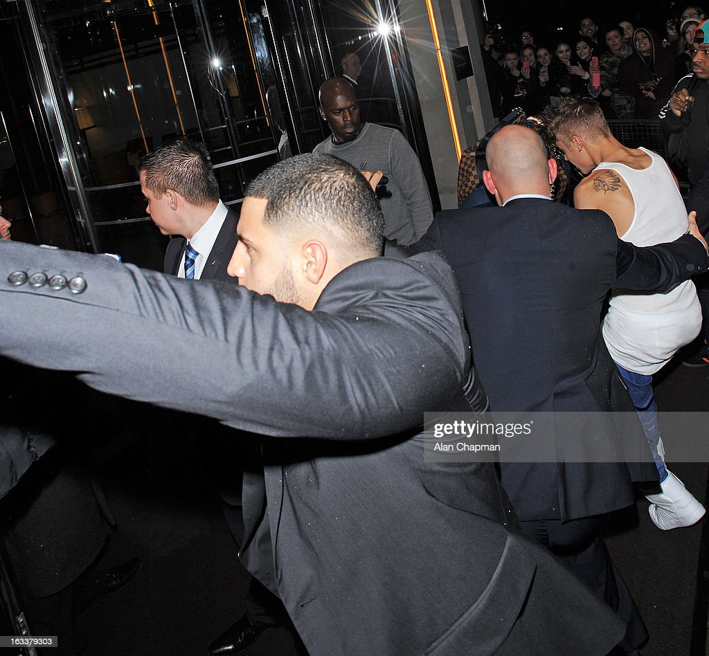 Justin Bieber seen as he returns to his hotel, 45 Park Lane on March 8, 2013 in London, England.