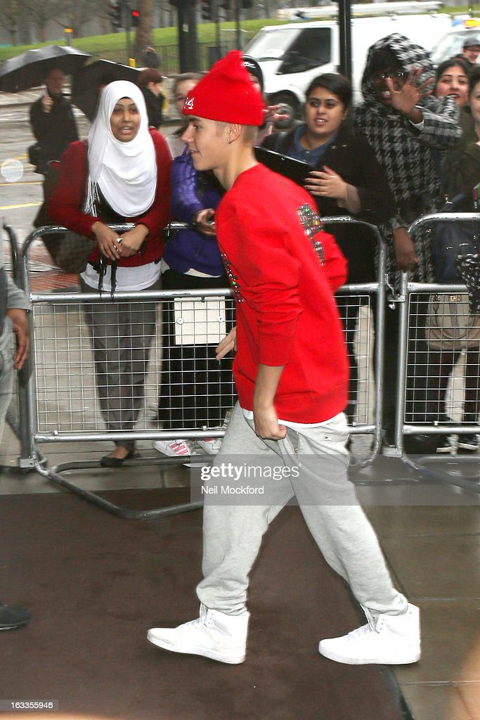 Justin Bieber seen returning to his hotel on March 8, 2013 in London, England.