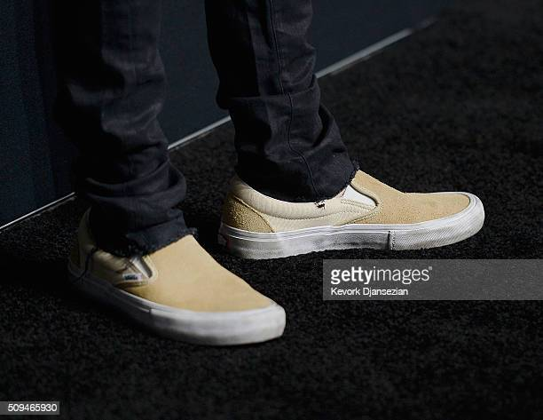 Justin Bieber shoe detail attends the Saint Laurent show at The Hollywood Palladium on February 10 2016 in Los Angeles California