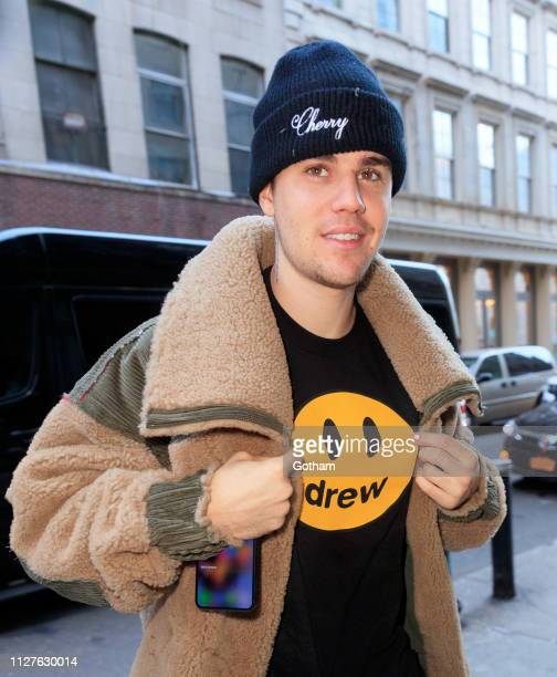 Justin Bieber shows off a 'Drew' shirt when out and about on February 26 2019 in New York City