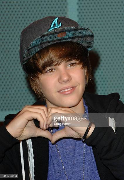 Justin Bieber signs copies of his new CD At The Hard Rock Cafe Hollywood on November 17 2009 in Universal City California