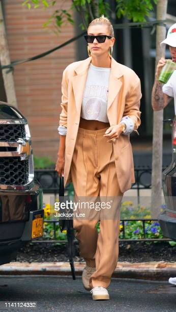 Justin Bieber sips on green juice when out and about with wife Hailey Bieber on May 4 2019 in New York City