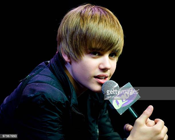Justin Bieber speaks during a meet and greet to promote his new CD ' My World 20' at the Q102 radio station on March 8 2010 in Bala Cynwyd...