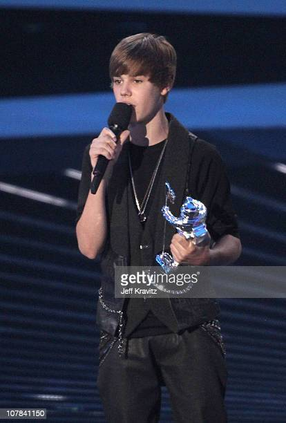 Justin Bieber speaks onstage at the 2010 MTV Video Music Awards held at Nokia Theatre LA Live on September 12 2010 in Los Angeles California