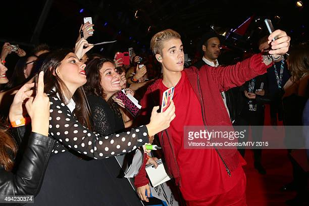 Justin Bieber takes a selfie with fans at the MTV EMA's 2015 at the Mediolanum Forum on October 25 2015 in Milan Italy