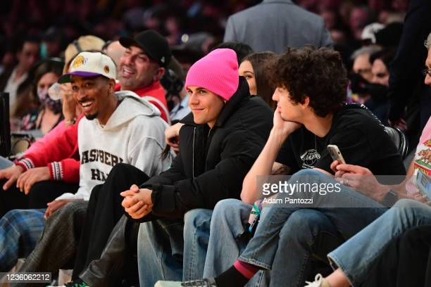 Justin Bieber takes in the game of the Phoenix Suns against the Los Angeles Lakers on October 22, 2021 at STAPLES Center in Los Angeles, California....