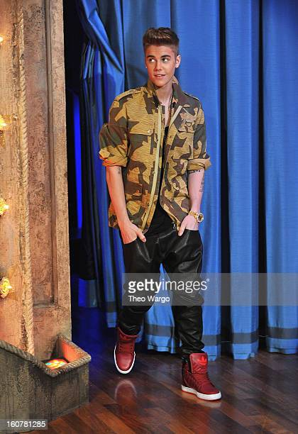 Justin Bieber visits Late Night With Jimmy Fallon at Rockefeller Center on February 5 2013 in New York City
