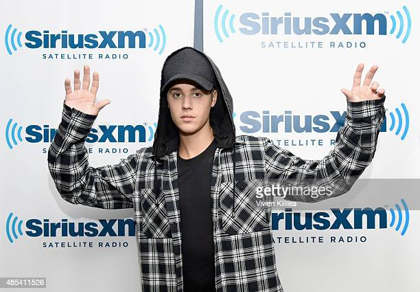 Justin Bieber visits SiriusXM Hits 1's The Morning Mash Up at SiriusXM Studios on August 27 2015 in Los Angeles California
