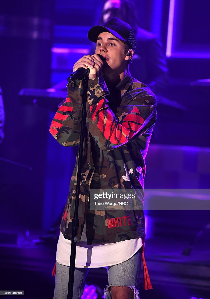 Justin Bieber Visits 'The Tonight Show Starring Jimmy Fallon' at Rockefeller Center on September 2, 2015 in New York City.