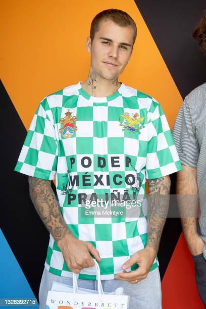 Justin Bieber visits the Wonderbrett dispensary on July 12, 2021 in Los Angeles, California.