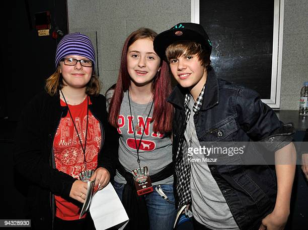 NEW YORK DECEMBER 11 *EXCLUSIVE* Justin Bieber with Eliza Anastasio and Isabella Anastasio attends Z100's Jingle Ball 2009 presented by HM at Madison...