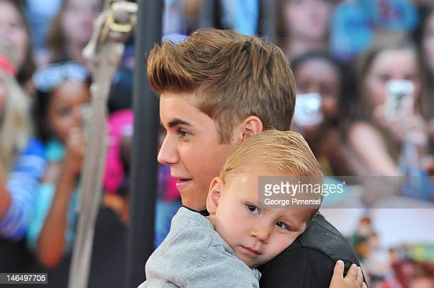 Justin Bieber with Jaxon Bieber arrive at 2012 MuchMusic Video Awards at MuchMusic HQ on June 17, 2012 in Toronto, Canada.