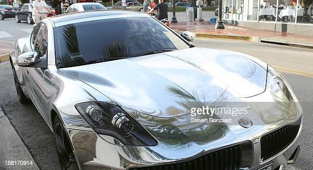 Justin Bieber's Fisker Karma parked outside Prime 112 Steakhouse on December 10 2012 in Miami Beach Florida