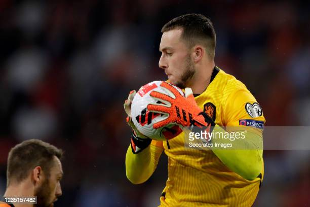 Justin Bijlow of Holland during the World Cup Qualifier match between Holland v Turkey at the Johan Cruijff Arena on September 7, 2021 in Amsterdam...