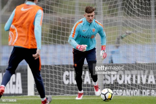 Justin Bijlow of Holland U21 during the Training Holland U21 at the Ciutat Esportiva Dani Jarque on March 25 2018 in Mataro Spain
