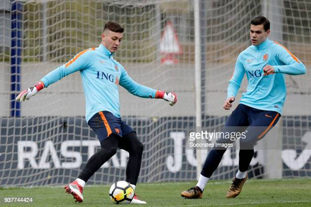 Justin Bijlow of Holland U21 Justin Hoogma of Holland U21 during the Training Holland U21 at the Ciutat Esportiva Dani Jarque on March 25 2018 in...