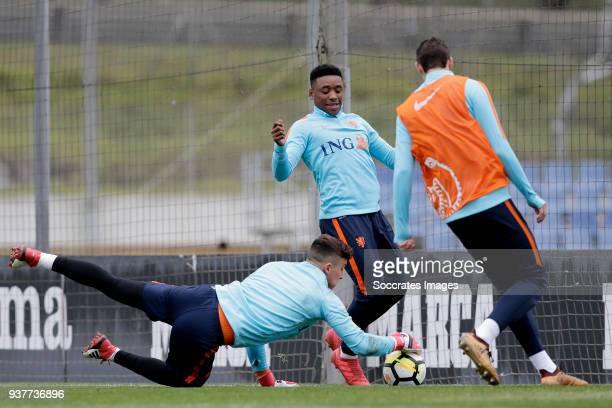 Justin Bijlow of Holland U21 Steven Bergwijn of Holland U21 during the Training Holland U21 at the Ciutat Esportiva Dani Jarque on March 25 2018 in...