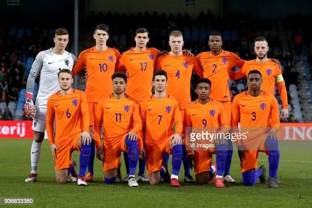 Justin Bijlow of Jong Oranje Pelle van Amersfoort of Jong Oranje Justin Hoogma of Jong Oranje Rick van Drongelen of Jong Oranje Denzel Dumfries of...