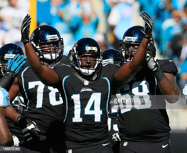 Justin Blackmon of the Jacksonville Jaguars celebrates a reception during the game against the Tennessee Titans at EverBank Field on November 25 2012...