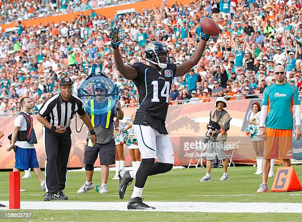 Justin Blackmon of the Jacksonville Jaguars celebrates what he believes is a touchdown against the Miami Dolphins on December 16 2012 at Sun Life...