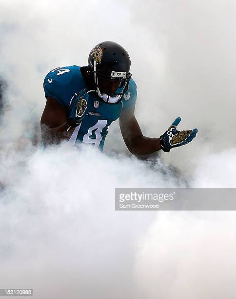 Justin Blackmon of the Jacksonville Jaguars enters the stadium prior to the game against the Cincinnati Bengals at EverBank Field on September 30...