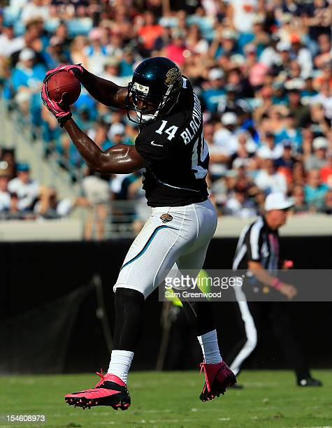 Justin Blackmon of the Jacksonville Jaguars makes a reception during the game against the Chicago Bears at EverBank Field on October 7 2012 in...