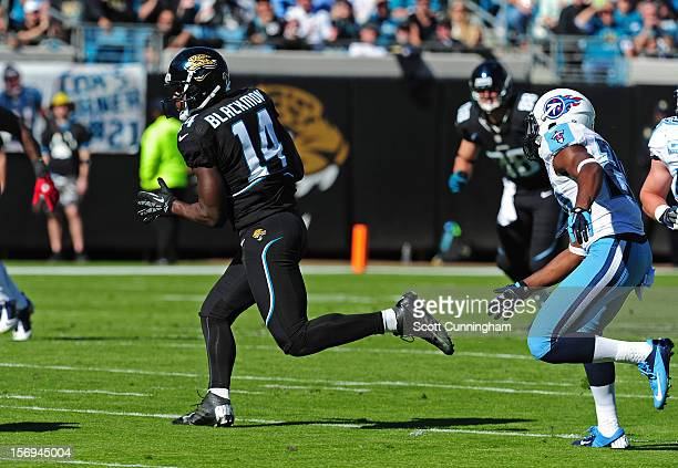 Justin Blackmon of the Jacksonville Jaguars runs with a catch against the Tennessee Titans at EverBank Field on November 25 2012 in Jacksonville...