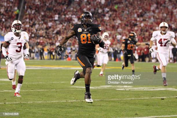 Justin Blackmon of the Oklahoma State Cowboys catches a 43-yard touchdown reception in the second quarter against the Stanford Cardinal during the...