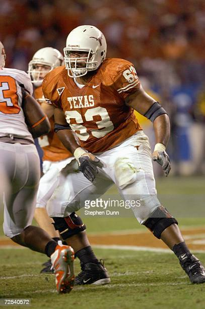 Justin Blalock of the Texas Longhorns blocks the line during the game against the Oklahoma State Cowboys on November 4 2006 at Texas Memorial Stadium...