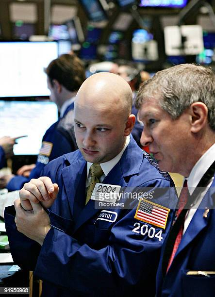 Justin Bohan left works on the floor of the New York Stock Exchange in New York US on Monday April 6 2009 US stocks fell for the first time in five...