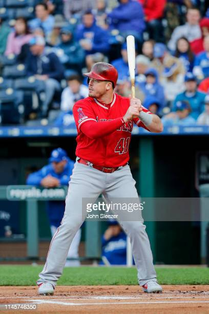 Justin Bour of the Los Angeles Angels of Anaheim at the plate in the first inning during the game against the Kansas City Royals at Kauffman Stadium...