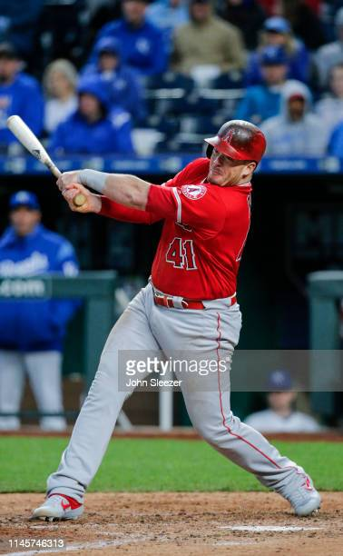Justin Bour of the Los Angeles Angels of Anaheim in the fourth inning during the game against the Kansas City Royals at Kauffman Stadium on April 27...