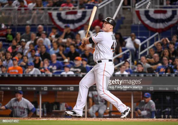 Justin Bour of the Miami Marlins at bat during the game against the New York Mets at Marlins Park on April 13 2017 in Miami Florida