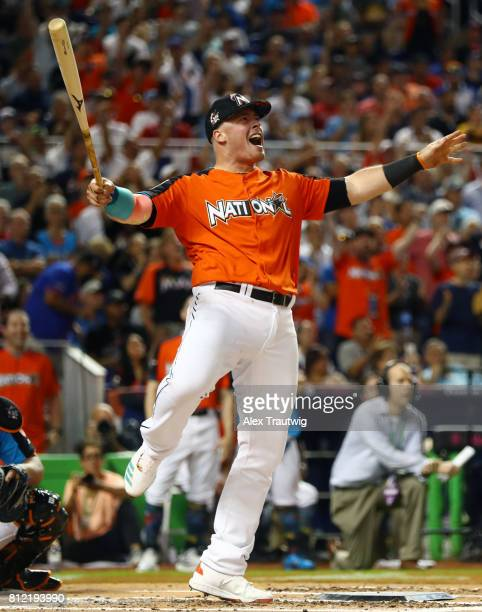 Justin Bour of the Miami Marlins bats during the 2017 TMobile Home Run Derby at Marlins Park on Monday July 10 2017 in Miami Florida