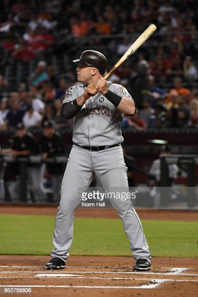 Justin Bour of the Miami Marlins gets ready in the batters box against the Arizona Diamondbacks at Chase Field on September 22 2017 in Phoenix Arizona