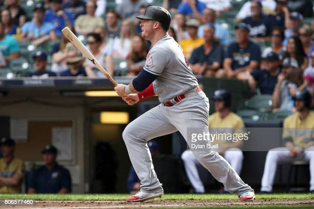 Justin Bour of the Miami Marlins grounds out in the sixth inning against the Milwaukee Brewers at Miller Park on July 01 2017 in Milwaukee Wisconsin