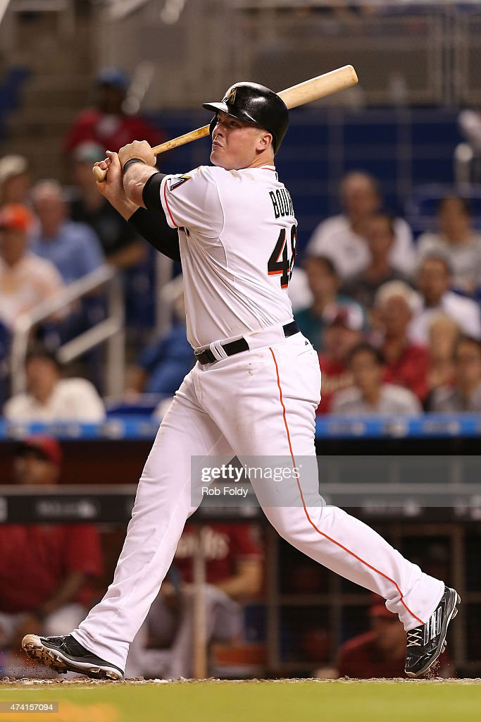 Justin Bour #48 of the Miami Marlins hits a double during the game against the Arizona Diamondbacks at Marlins Park on May 20, 2015 in Miami, Florida.