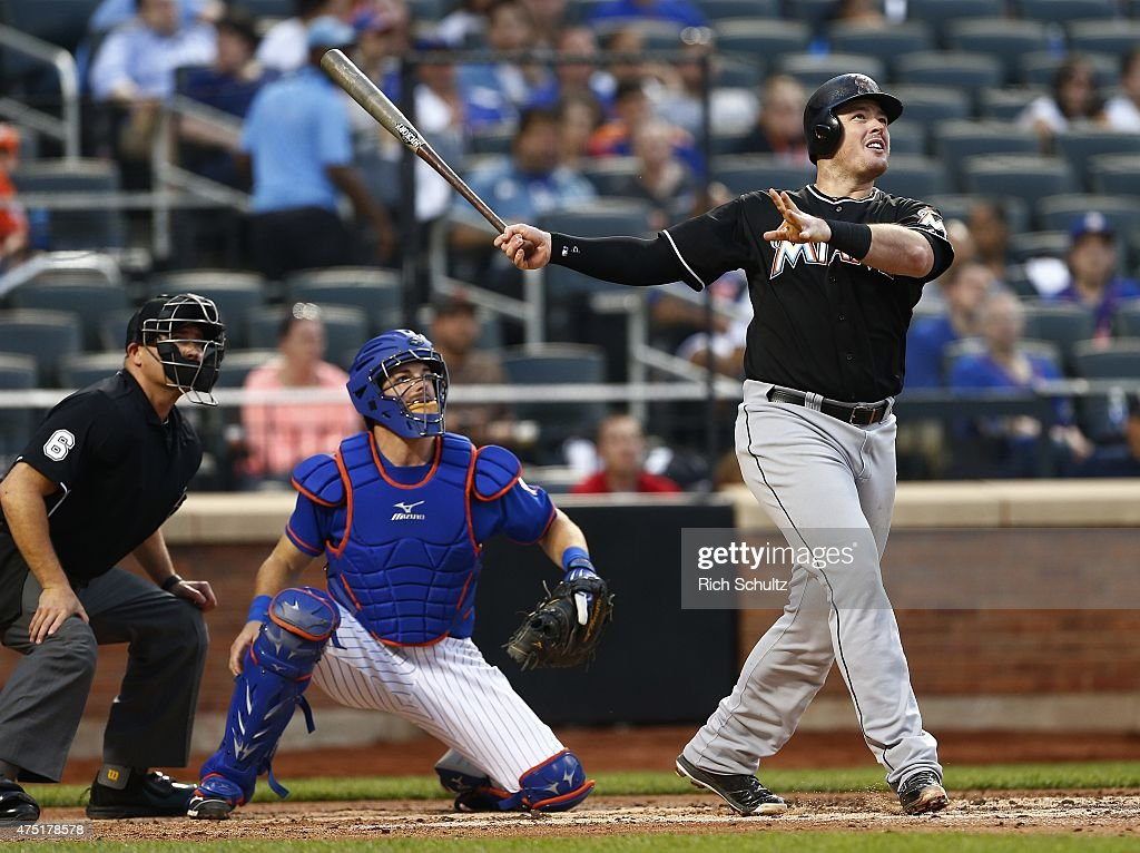Justin Bour #48 of the Miami Marlins hits a three run home run against the New York Mets during the fourth inning on May 29, 2015 at Citi Field in the Flushing neighborhood of the Queens borough of New York City.