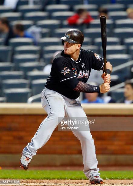 Justin Bour of the Miami Marlins in action against the New York Mets at Citi Field on May 5 2017 in the Flushing neighborhood of the Queens borough...