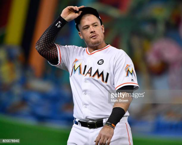 Justin Bour of the Miami Marlins in action during the game between the Miami Marlins and the Los Angeles Dodgers at Marlins Park on July 14 2017 in...