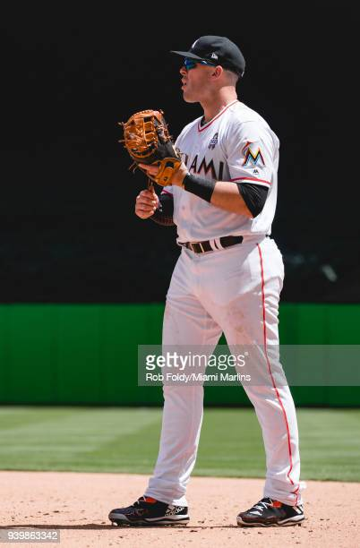 Justin Bour of the Miami Marlins looks on during the game against the Chicago Cubs at Marlins Park on October 1 2017 in Miami Florida