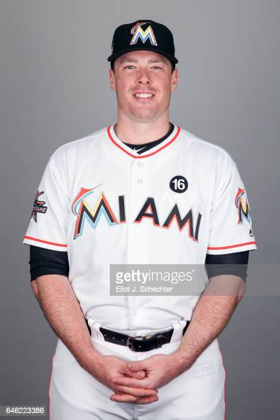 Justin Bour of the Miami Marlins poses during Photo Day on Saturday February 18 2017 at Roger Dean Stadium in Jupiter Florida