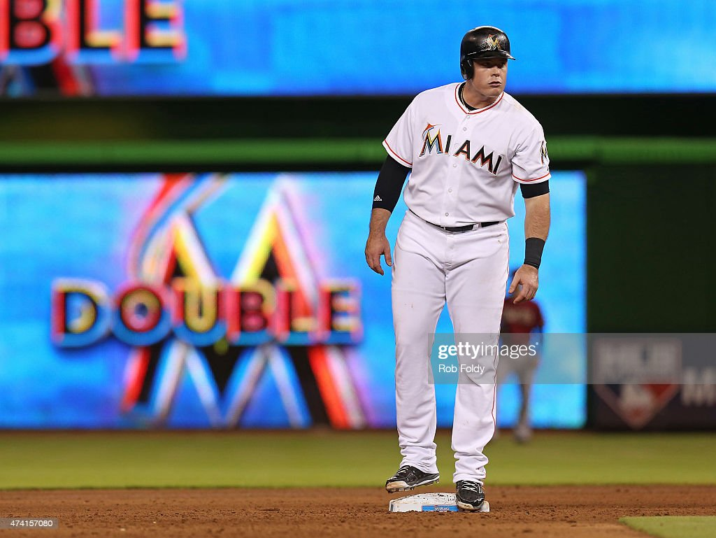 Justin Bour #48 of the Miami Marlins stands on second base after hitting a double during the game against the Arizona Diamondbacks at Marlins Park on May 20, 2015 in Miami, Florida.