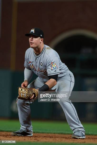 Justin Bour of the Miami Marlins stands on the field during the fifth inning against the San Francisco Giants at ATT Park on July 7 2017 in San...