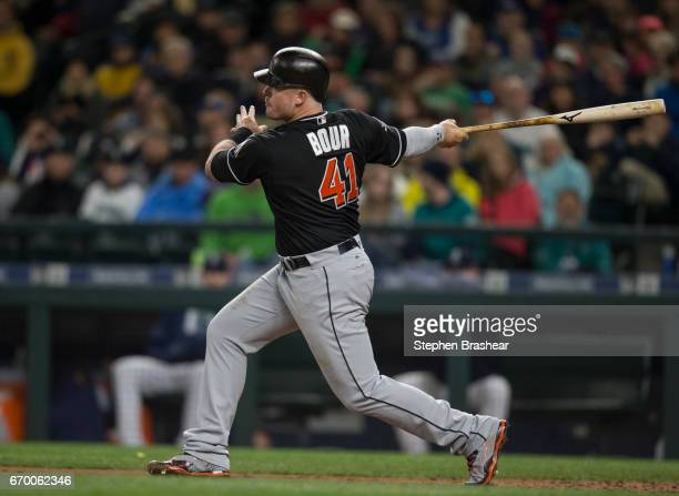 Justin Bour of the Miami Marlins takes a swing during an atbat in a game at against the Seattle Mariners Safeco Field on April 17 2017 in Seattle...