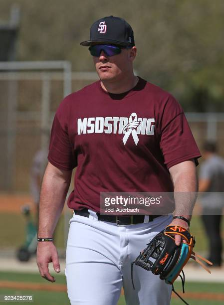 Justin Bour of the Miami Marlins walks off the practice field prior to the game against the St Louis Cardinals during a spring training game at Roger...