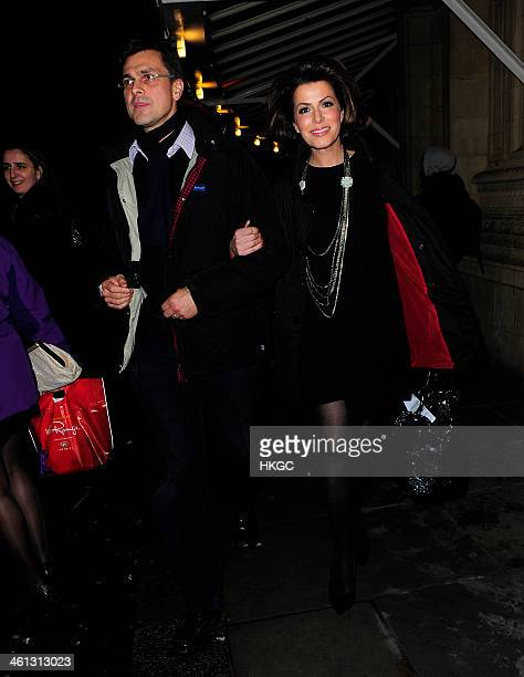 Justin Bower and Natasha Kaplinsky attend the 'Cirque Du Soleil Quidam' opening night at the Royal Albert Hall on January 7 2014 in London England
